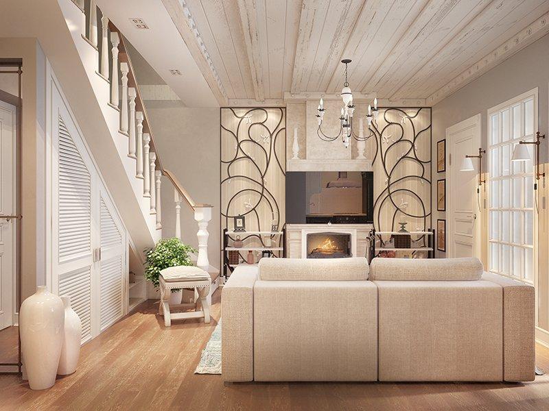 Дизайн гостиной стеновыми панелями