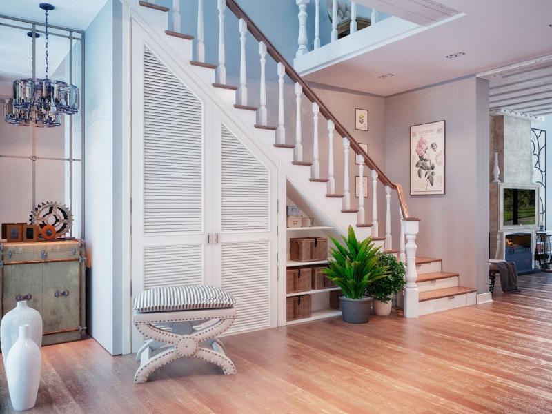 Дизайн шкаф под лестницей