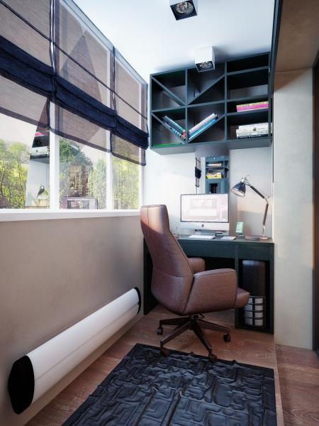 Рабочий кабинет на лоджии дизайн фото