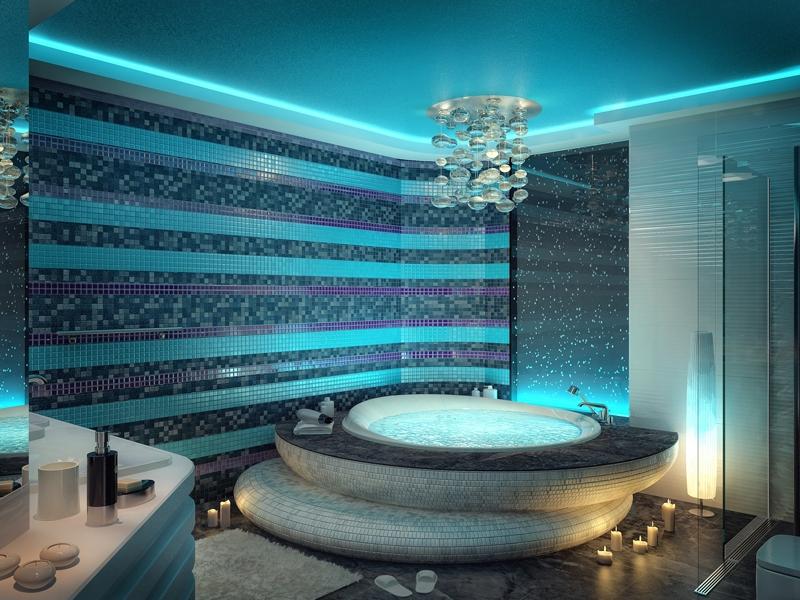 Дизайн ванной с подиумом