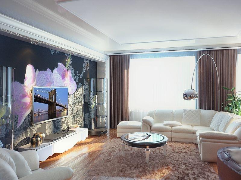 Интерьер гостиной с панно фото