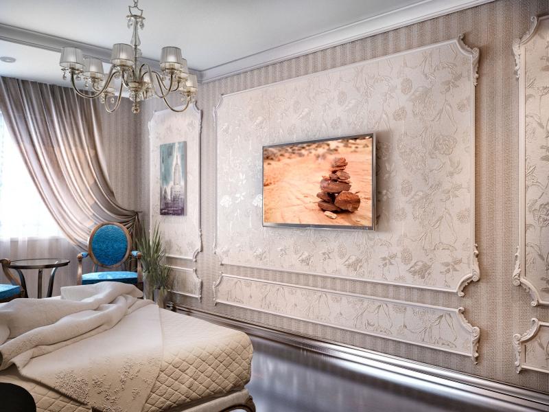 сочетание обоев в спальне дизайн интерьера квартиры на ул