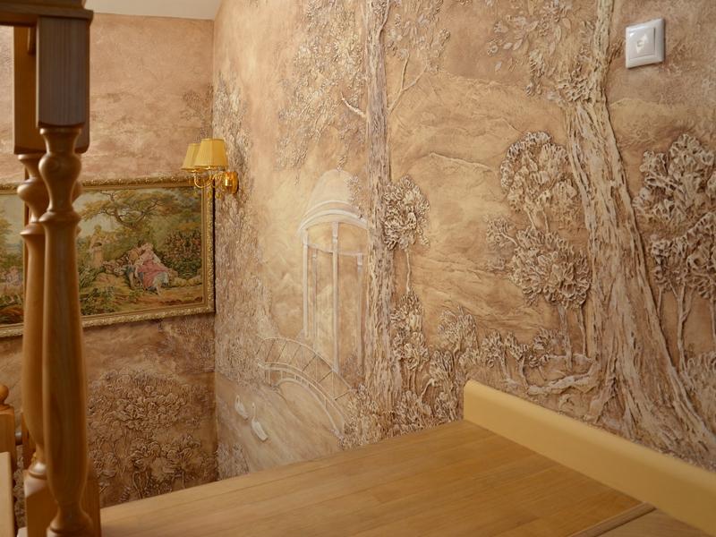 Барельеф на лестничном марше - Художественная роспись на стенах Пермь Пермский край