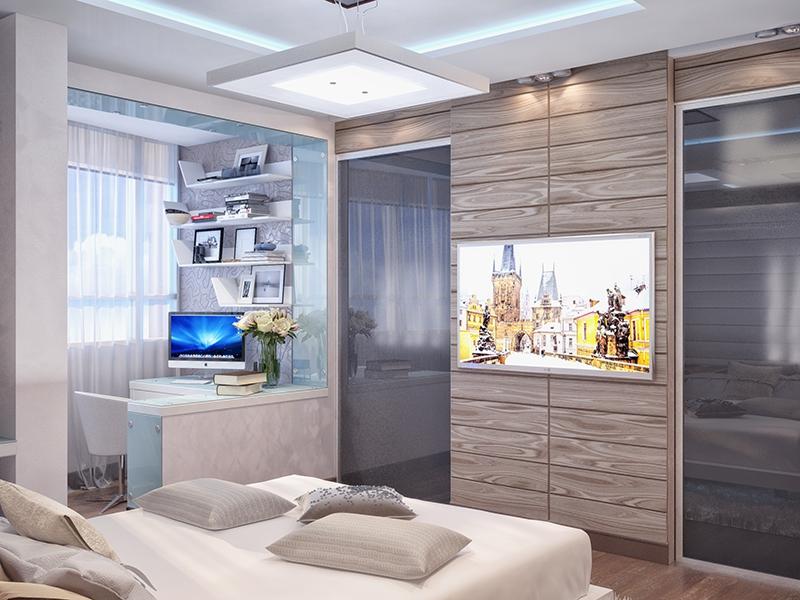 спальня объединенная с балконом жилой интерьер в современном стиле