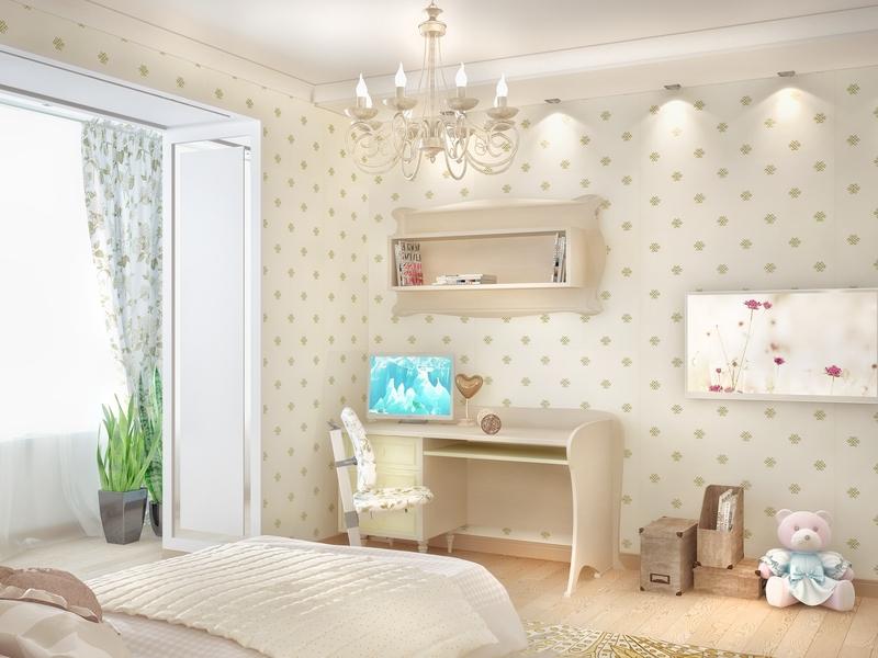 обои с мелким рисунком в детской комнате дизайн интерьера квартиры