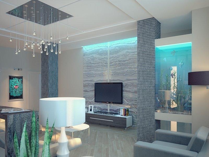 гостиная с аквариумом дизайн фото